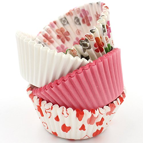 Zicome 400 Count Paper Cupcake Baking Cups Liners Standard Size Romantic Love Theme