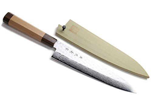 Yoshihiro VG-10 46 Layers Hammered Damascus Gyuto Japanese Chefs Knife Octagonal Red Pine Handle