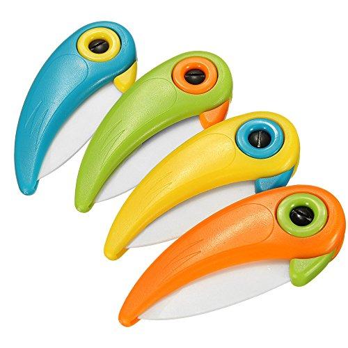 Ceramic Fruit Knife - Cute Bird Portable Pocket Folding Ceramic Fruit Vegetable Paring KnifeSet of 4