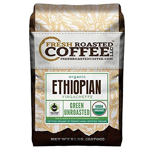 Fresh Roasted Coffee LLC Green Unroasted Ethiopian Yirgacheffe Coffee Beans Fair Trade USDA Organic 5 Pound Bag