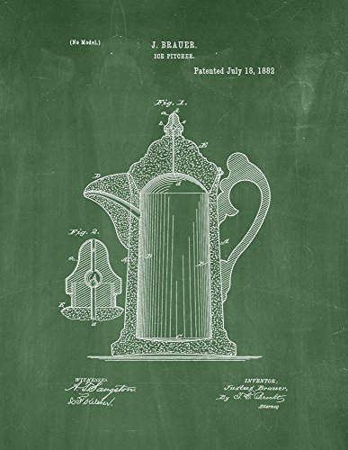 Ice Pitcher Patent Print Art Poster Green Chalkboard 13 x 19