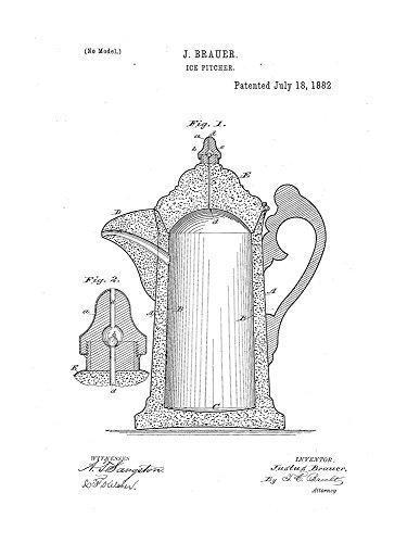 Ice Pitcher Patent Print Art Poster White Matte 13 x 19