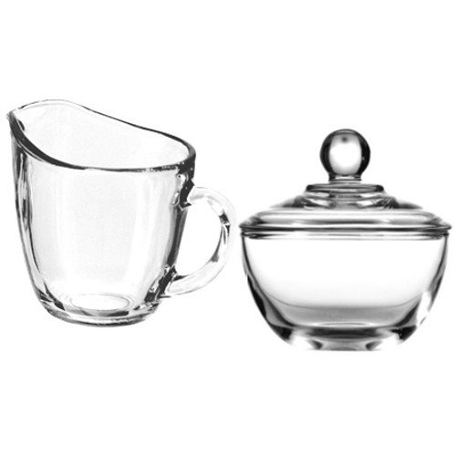 Anchor Hocking Presence Creamer and Sugar Set Includes Glass Creamer Dispenser Pitcher and Glass Sugar Bowl with Lid - Bundle of 2
