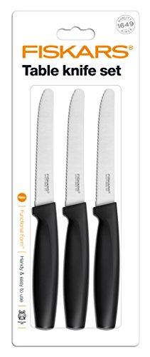 Fiskars 6424001026588 1014279 FF Set Set of 3 Black Table Knifes one size