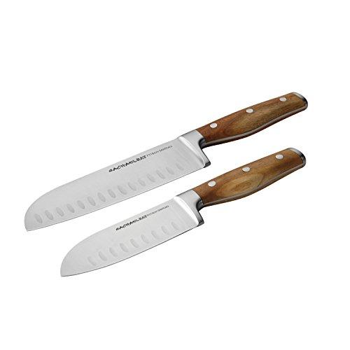 Rachael Ray Cucina Cutlery 2-Piece Japanese Stainless Steel Santoku Knife Set with Acacia Handles