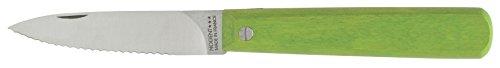 Nogent Le Pocket Folding Paring Kitchen Knife Made in France Serrated Edge Hardwood Handle Lime Green 315-Inch Carbon Steel Blade