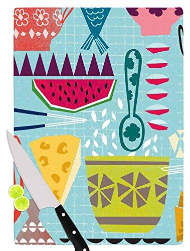 KESS InHouse Agnes Schugardt Dinner Out Food Vintage Cutting Board 115 x 1575 Multicolor