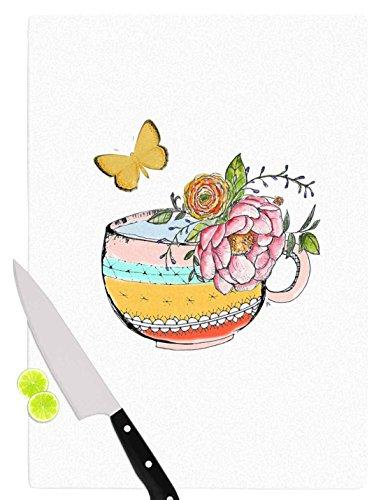 KESS InHouse JR1005ACB01 Jennifer Rizzo Tea Cup Vase Yellow Vintage Cutting Board 115 x 825 Multicolor