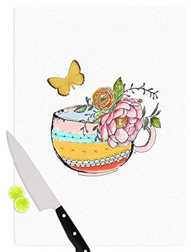 KESS InHouse Jennifer Rizzo Tea Cup Vase Yellow Vintage Cutting Board 115 x 1575 Multicolor