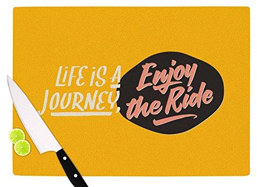 KESS InHouse PO1047ACB01 Juan Paolo Enjoy The Ride Yellow Vintage Cutting Board 115 x 825 Multicolor