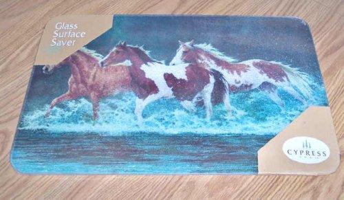 Glass Cutting BoardTrivet - Horses Splashing Design - 18 X 12