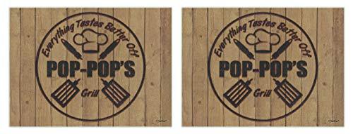 Pop-Pop Presents Everything Tastes Better Pop-Pops Grill Wood Print 2 Pack Glass Cutting Board Set