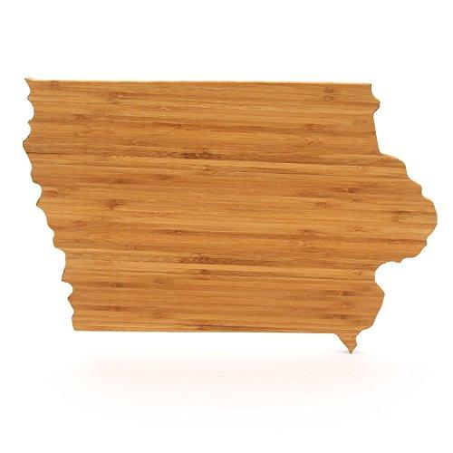 The Cutting Board Company State Shaped Cutting Boards Amber Bamboo Iowa