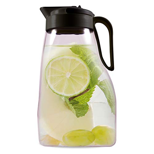 LargePour Airtight Pitcher with Locking Spout and Carry Handle Japanese Made - For Water Coffee Tea Other Beverages - 32 Quarts - Clear with Black Top