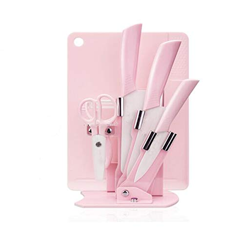 Hongyuantongxun Knife Set Nano Ceramic Knife Family Restaurant Food Knife Kitchen Knife Cutting Board Set Pink Good quality Color  Pink