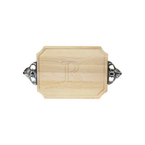 BigWood Boards 300-SC-R Cutting Board with Handles Monogrammed Wedding Gift Cutting Board Small Cheese Board Maple Wood Serving Tray R by BigWood Boards