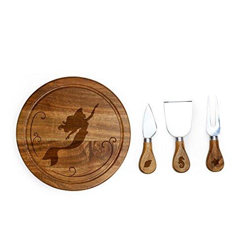 Disney Princess Little Mermaid Brie Acacia Wood Cheese Board Set with Cheese Tools