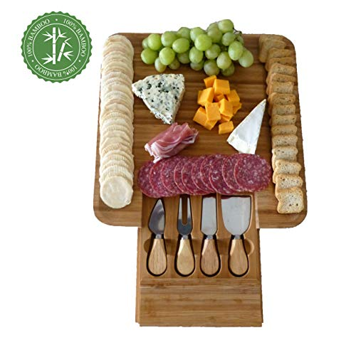 Stephanie Lane - Cheese Board Set Charcuterie Board Cheese Cutting Plate Bamboo Serving Tray with Cutlery Knives in Drawer Cracker Wood Party Platter