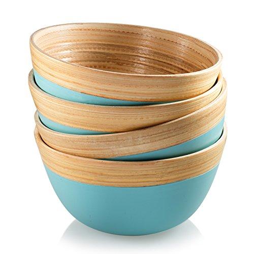 Francois et Mimi Pure Bamboo Small Bowl Set with Natural Rim 4 Diameter Set of 4
