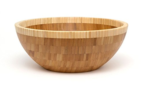 Lipper International 9204 Two Toned Bamboo Bowl Large Brown