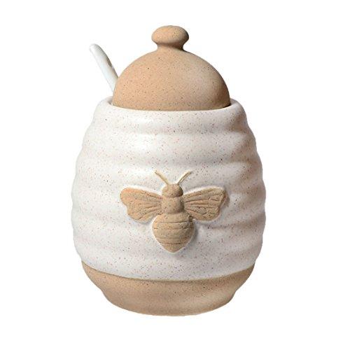 DEI 10476 Jar Ceramic Honey Pot 524 x 40 x 60 Off WhiteTan