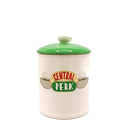 Silver Buffalo FRD201EG Friends Central Perk Logo Ceramic Cookie Jar Large WhiteGreen