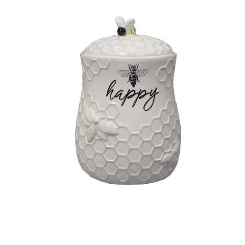 youngs Inc Ceramic Bee Treat Jar White Black