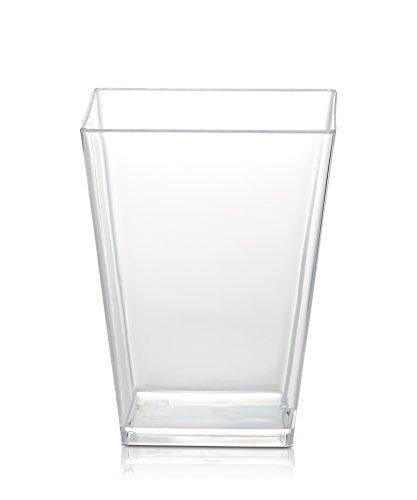 50 Plastic Party Cups for Dessert 54 oz - Serve Tiramisu Parfait Dip Sundaes Single Serve Desserts and More - Clear Plastic Tumbler Glasses - Mini Appetizer Dish or Square Bowl - by SticFigs