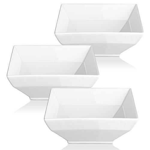 DOWAN Porcelain Bowl Set - Square Serving Bowls For Cereal Soup Set of 3 White 24-Ounce
