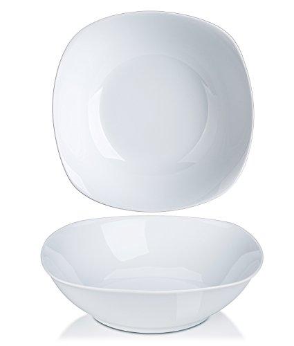 YHY 13-Quart Porcelain Serving Bowls White SaladCereal Bowls Set Square Round Set of 2