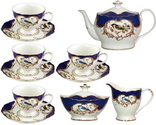 Gracie China 11-Piece Fine Porcelain Tea Set Sweet Finch with Royal Blue Border