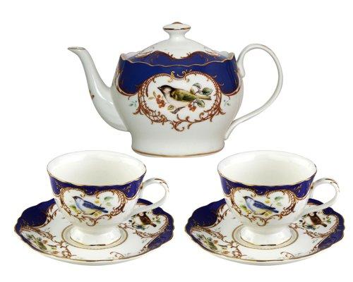 Gracie China 5-Piece Fine Porcelain Tea Set Sweet Finch with Royal Blue Border