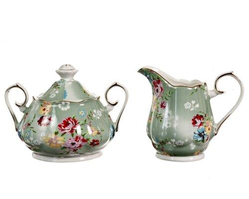 Gracie China Shabby Rose Porcelain 2-Piece Sugar and Creamer Set Shabby Rose Green