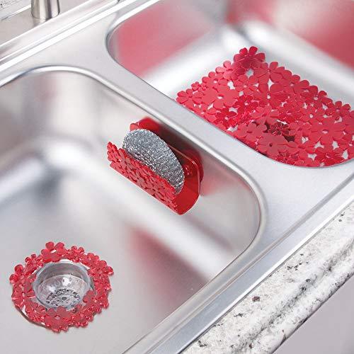 mDesign Floral Kitchen Sink Protector Mat Sponge Holder Drain Strainer - Set of 3 Red