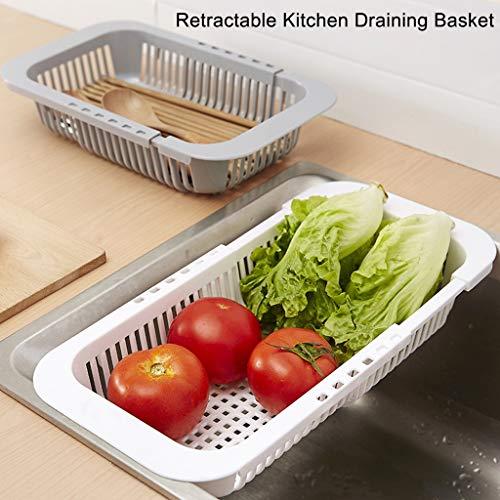 succeedtop Retractable Kitchen Draining Basket Colander Strainer Over The Sink Kitchen Colander VegetableFruit Colanders Strainers with Extendable Strainer for Kitchen All Kinds of Sinks White