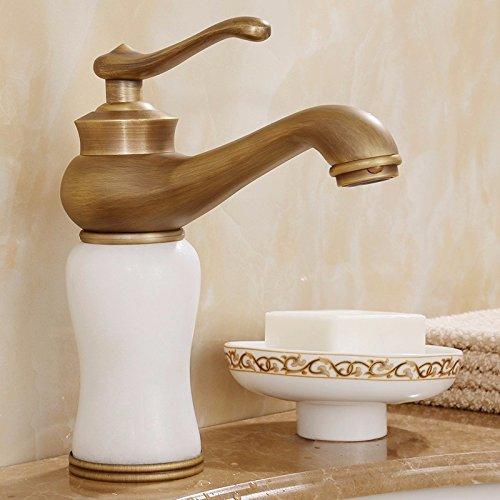AWXJX Washroom Sink Mixer Tap copper European style Wash basin Hot and cold bathroom Gold Sit jade ceramics Single hole