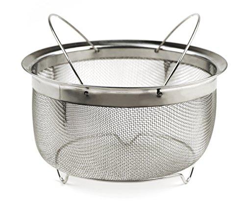 RSVP International M8-FH Mesh Colander Strainer Basket with Folding Handles 3 Quarts  For Pasta Frying Salads  Dishwasher Safe  Use in Pressure Cookers  Steaming Draining Rinsing
