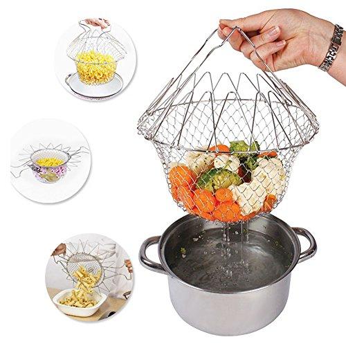 Foldable Fry Basket Steam Strainer Net Kitchen Dining Bar Cooking Tools UtensilsChef Rinse Strain Magic Basket Mesh Basket for Fried Food or FruitsSliver1pcs