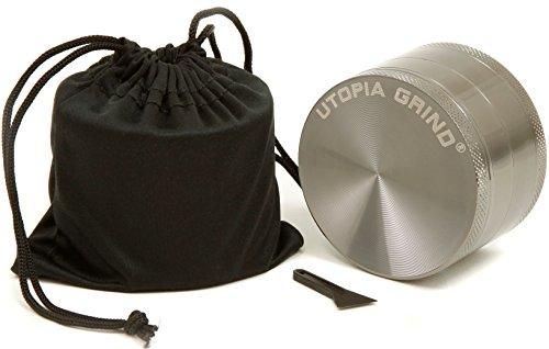 Utopia Grind Herb & Spice Grinder 2.5 Inch 4 Piece With Pollen Catcher, Storage And Bonus Carrying Bag