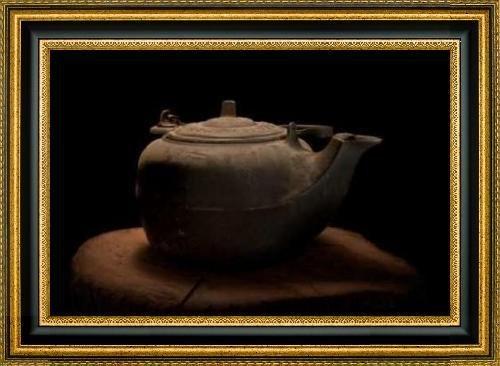 Cast Iron Tea Kettle by C Thomas McNemar - 30 x 20 Framed Premium Canvas Print