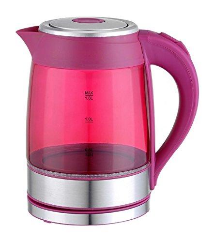 Family Home 18 Liter High Borosilicate Glass Electric Kettle with LED Illumination Fuchsia