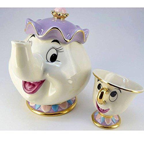 NEW Beauty and The Beast Mrs Potts Chip Tea Pot Cup set Teapot Mug  Pot Cup