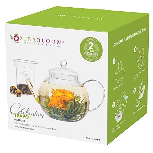 Teabloom Blooming Teapot - Glass Teapot with Infuser - 34 Oz Heat Resistant Borosilicate Glass Teapot - Great for Flowering Tea and Loose Leaf Tea - 2 Bonus Tea Flowers