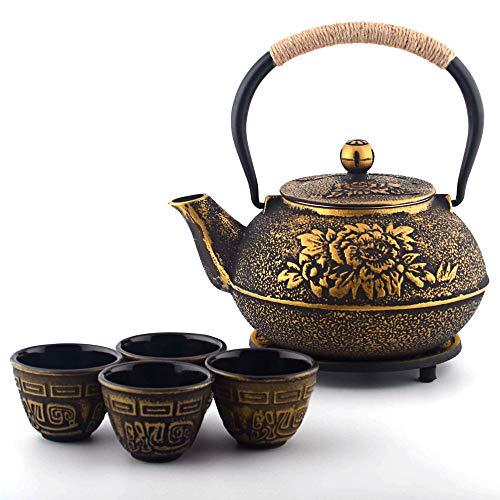 6-piece Japanese Cast Iron Pot Tea Set with Trivet Golden Peony 40 oz