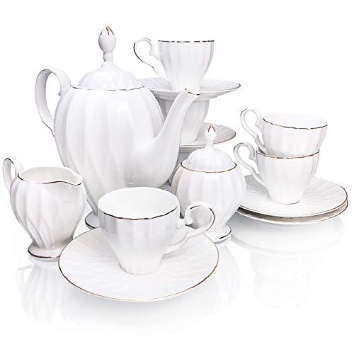 BTäT- Royal Tea Set 6 Tea cups 5oz Tea Pot 38oz Creamer and Sugar Set Gift box China Tea Set Tea Service Tea Cups and Saucer Set Tea Set for Adults Tea Cups Set of 6 Porcelain Tea Set