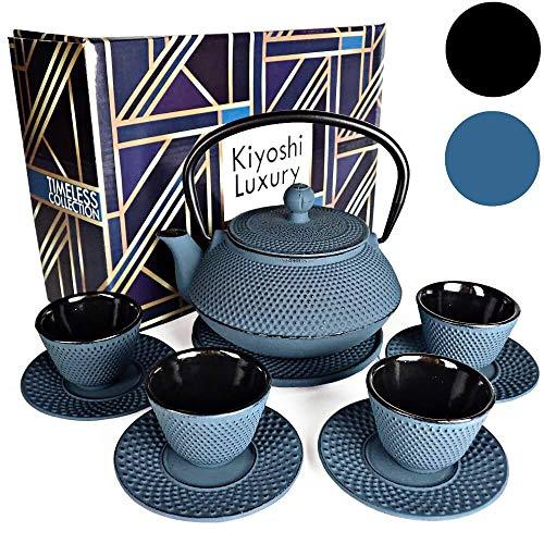 KIYOSHI Luxury 11PC Japanese Tea SetKONJOU Blue Cast Iron Tea Pot with 4 Tea Cups 4 Saucers Loose Leaf Tea Infuser and Teapot Trivet Ceremonial Matcha Accessories and Iron Anniversary Gifts