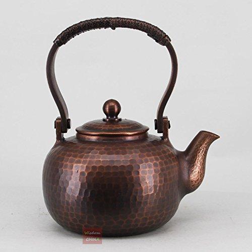 China Full Handmade Red Copper Tea Kettle Pot Hammered Metalware Teapot 350ml -A