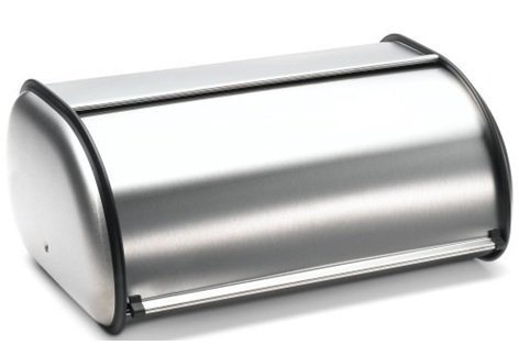 Brushed Stainless Steel Rolltop 2-Loaf Capacity Bread Box 165 X 10 X 8