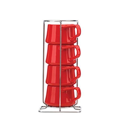 Dansk Kobenstyle 4-Piece Demitasse Cup Set with Rack Chili Red