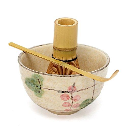 3pcs Sets Tea Ceremony Matcha Ceramic Tea Bowl Bamboo Tea Scoop Matcha Whisk - No2